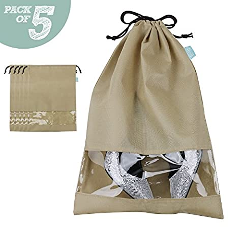 Non-woven Shoe bag with Draw string Tie, Transparent view window, Dust proof shoe Storage bags for travel / carrying, off-Season shoes/ boots storage, 5 of Pack,Khaki