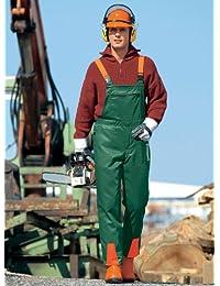 Watex Salopette de protection pour travaux forestiers, avec revêtement de protection anti-coupure Vert/orange clair