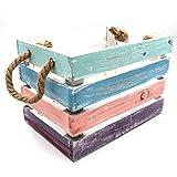 WB wohn trends Bunte Holz-Kiste mit Seil-Griffen ~ Pastell Farben/Maritim ~ L 23x28x38cm ~ Verschiedene Größen Oder als Set