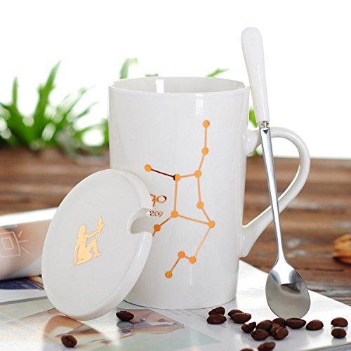 SSBY La Tasse De Café En Céramique De Douze Constellation Créatif Bureau Tasse Tasse En Porcelaine Blanche CuillèreE