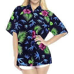 LA LEELA botón Camisa Hawaiana Blusa Playa Mujeres Cuello Manga Corta árboles Palma impresión del Traje de baño Partido S-ES Tamaño-42-44 Halloween Negro_X104