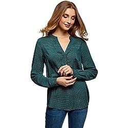 oodji Collection Mujer Blusa Estampada de Viscosa, Verde, ES 42 / L