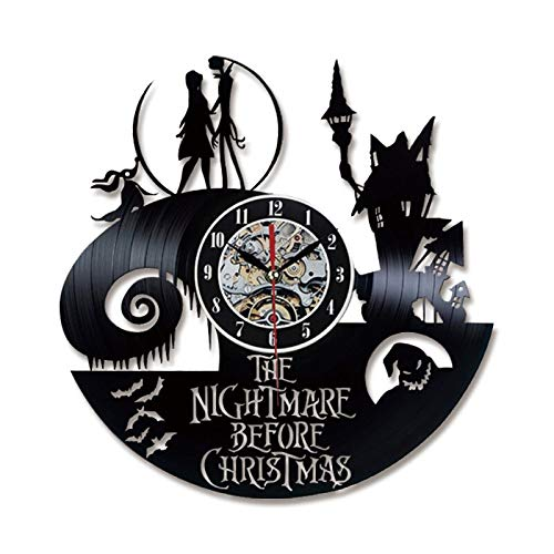 MMLUCK Wanduhr Nightmare Before Christmas Thema CD-Rekord LED Uhr 3D Klassische leise Wandbehang Uhr   antiken Halloween-Stil