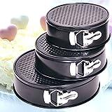 3x Springform Kuchenbackform Kuchenform Backform Tortenform Ø 18 22 26cm,Antihaftbeschichtung,gleichmäßige Wärmeleitung