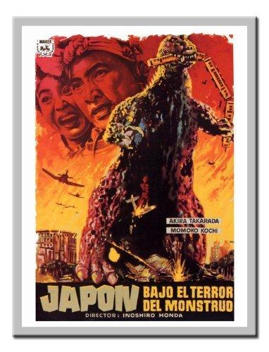 Godzilla Japanische Monster Movie Druck Memo Board, Magnet Silber gerahmt–41x 31cms (ca. 40,6x - Poster-japanisch Godzilla