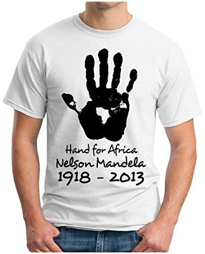 OM3 - MANDELA-HAND-FOR-AFRICA - T-Shirt NELSON MADIBA APARTHEID AFRIKA PEACE FREEDOM EMO, S - 5XL