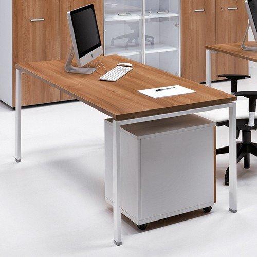 Portacomputer Scrivania Ufficio 120x80 con piano in legno gambe metallo 1311 Fumunet