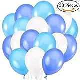 Jonami 50 Premium Ballons d'Anniversaire Gonflables.30cm Ballons de Baudruche Latex Perlé Nacré Blanc, Bleu, Bleu Foncé 3.2g. Décorations de fête et Accessoires pour Anniversaire ou Mariage