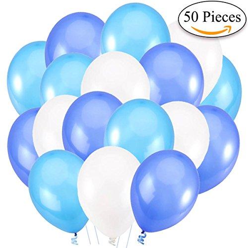 Jonami 50 Globos de Helio de 30 cm. Globos de Látex Blanco y Azul y Turquesa Brilante de 3,2g. Decoraciones y Accesorios para Fiestas de Cumpleaños y Bautizo