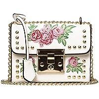 LuckES Moda mujer flor impresión mini hombro bolso cruz cuerpo PU cuero solapa mensajero bolsas pequeño bolso monedero Estilo de Retro Bolso a Mano Bordados Monedero