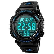 Montre de sport digitale pour homme - Pour la course, les activités en plein air - Étanche 5ATM - Style militaire, décontracté, sportif - Cadran large - Avec alarme