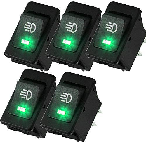 Refaxi Tableau De Bord Vert Led De Commutateur à Bascule De Commutateur à Bascule De Lumière De Brouillard De Voiture De 5 X 12V 35A Ventes