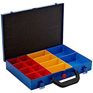 Allit Metal Hardware Box with 48-Shallow Removable Compartments in 3-Different Sizes - Blue