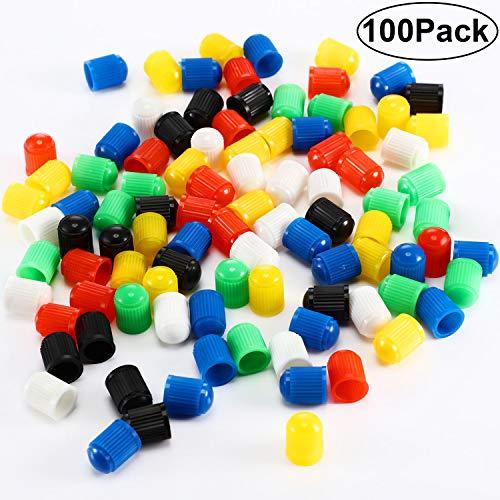 Hsei 100 Tappi Antipolvere in plastica per valvole Pneumatici, per Auto, Moto, Camion, Bici e Biciclette, 6 Colori Assortiti