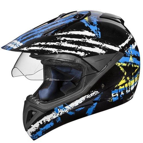 Studds Motocross D5 Helmet With Visor (Black N1, XL)