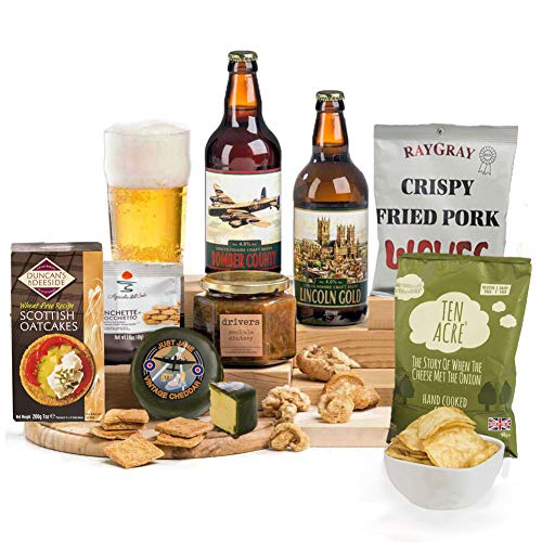 Craft Beer With Cheese, Crackers, Chutney & Bar Snacks Hamper FREE UK Delivery