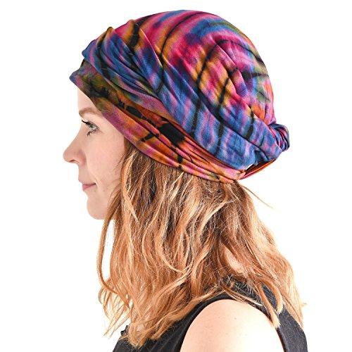 Casualbox Tie Dye Cinta Para El Pelo Hippie Moda Elástico Cabeza Envolver Tapa 60'S 70'S Retro Bandana Psicodélico Flor Patrón