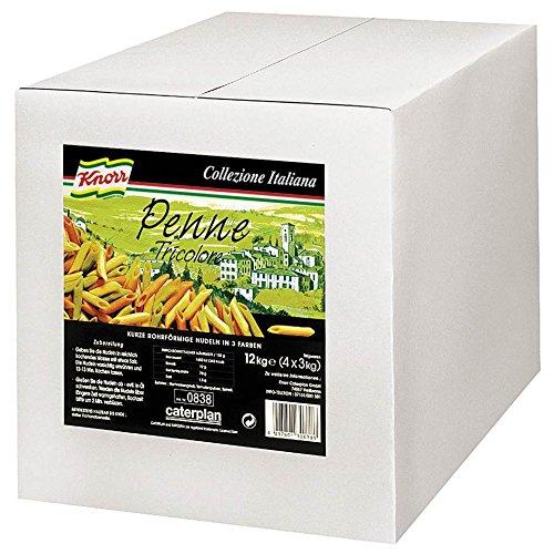 Knorr Penne Tricolore bunte Röhrennudeln 12 kg, 1er Pack (1 x 12 kg) - 1 Pack Tri-color
