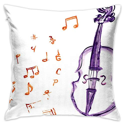 HHOWE Soft Decorative Square Throw Pillow Case Cushion Covers Musical Notes Instrument Violin Cello In Watercolors Style White Backdrop Printfor Livingroom Bedroom with Invisible Zipper 18X18 Inch (Cello Case Soft)