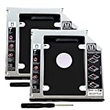 #4: 2 Pack SSD HDD Caddy 9.5mm 2nd Hard Disk Drive Caddy for Universal Laptop CD/DVD-ROM Optical Bay