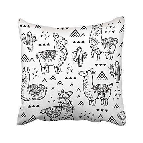 (DAICHAI Kopfkissenbezug Decorative Throw Pillow Covers Cases Colorful Llama Outline Lamas Ink Coloring Book Peru Cactus Desert Drawn Doodle Black America 18x18 Inches Pillowcases Case Cover Cushion T)