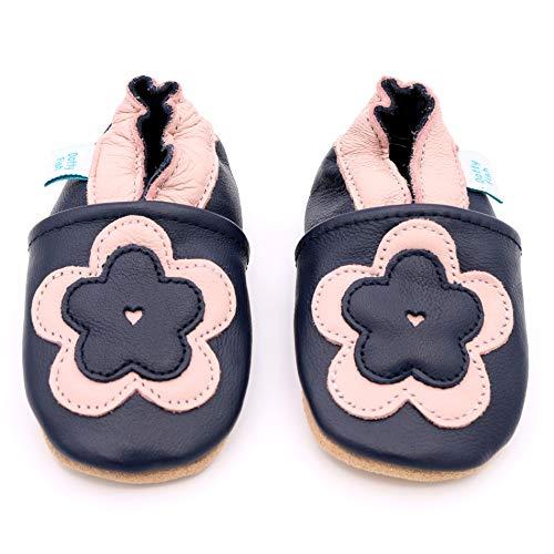 Dotty Fish Chaussures Cuir Souple bébé et Bambin. 0-6 Mois - 4-5 Ans. Pantoufles pour Filles avec des Fleurs et des Animaux.