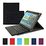 Besmall Wireless Touch Bluetooth Drahtlose Tastatur mit QWERTZ Tastaturlayout für Android Windows Tablet Smartphone(Mit PU-Hülle,Schwarz)