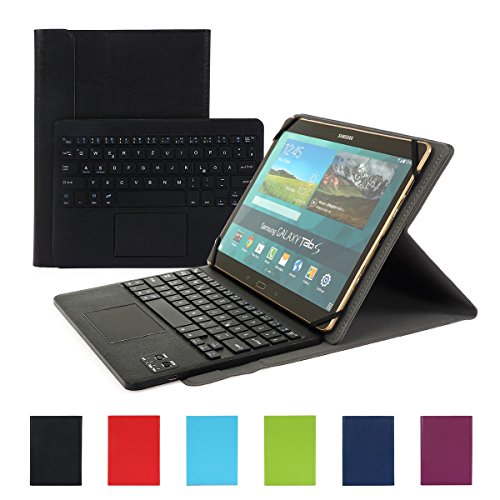 Besmall Wireless Touch Bluetooth Drahtlose Tastatur mit QWERTZ Tastaturlayout für Android Windows Tablet Smartphone(Mit PU-Hülle,Schwarz) (Galaxy 3 10-zoll-tablet)