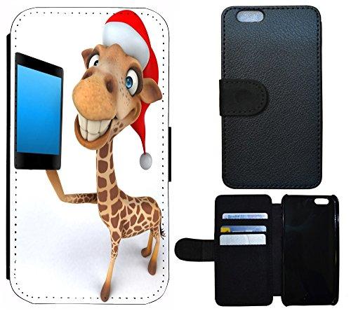 Schutz Hülle Flip Cover Handy Tasche Etui Case für (Apple iPhone 5 / 5s, 1192 Traumfänger Dreamcatcher Pink Rosa Rot) 1194 Giraffe Rot Braun Weiß Animiert