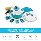 Homecare Penta Beautifully Designed BPA Free Vegetable Chopper - Food Processor with Effortless Rotating Handle, Plastic Container, Lid and 5 Different Stainless Steel Blades.