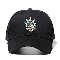 Rick and Morty New Khaki Dad Hat Crazy Rick Gorra de Beisbol American Anime Cotton Embroidery Snapback Anime Lovers Cap Men Mujer,Black