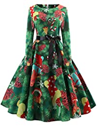 f79606326fe Rosennie Womens Dresses,Christmas Women Costumes Sexy Vintage Lace Long  Sleeve O Neck Xmas Trees