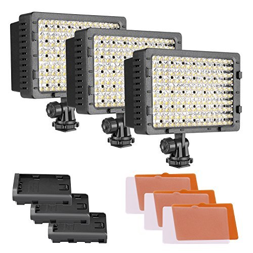 Neewer CN-160 3er Pack 160 LED Dimmbar Ultra High Power Panel Digitalkamera/Camcorder Video-Licht, LED-Licht für Canon, Nikon, Pentax, Panasonic, Sony, Samsung und Olympus Digital SLR Kameras