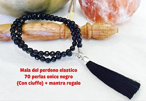 mala-perdono-pietra-onice-nero-8mm-elastico-ciuffo-tela-custodia-a-sacchetto-mantra-del-perdono