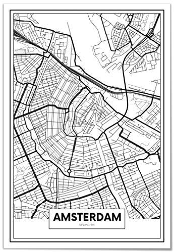 Panorama® Póster Mapa Amsterdam 50 x 70 cm | Impreso