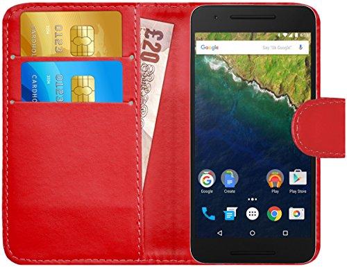 G-Shield Hülle für Google Nexus 6P Klapphülle mit Kartenfach - Rot