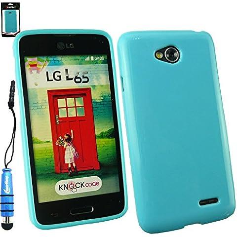 Emartbuy® Stilo Pacchetto Per LG L65 Pellicola Protettiva + Metallico Mini Blu Stilo + Lucente Gloss Case Cover Custodia In Gel Blu