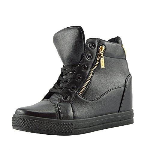 Hidden Wedge Boot (Kick Footwear - Damen Hidden Wedge Lace-Up-Turnschuhe High-Top Sneakers Schuhe Größe UK - UK 4 / EU 37, Schwarz Matt, Chunky Mid Heel Ankle Boots)