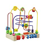 Symiu Wooden Bead Mazes Toys for Toddlers Roller Coaster Beads Colorful Abacus Fruit Beads for 3 4 5 6+ Year Old Girls Boys Gifts