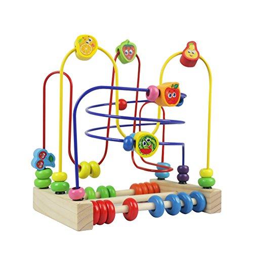 Holzspielzeug Motorikwürfel Motorikschleife Holz Motorikspielzeug Labyrinth Abakus Bead Maze Spielzeug Geschenk für Kinder Junge Mädchen ab 3 4 5 Jahren alt (MEHRWEG)