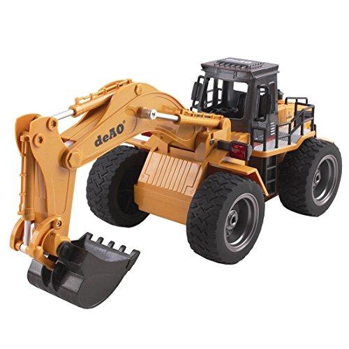 deAO Camión de Construcción RC Profesional Funcion Completa de 6 Canales Excavaroda Teledirigida Todo Terreno con Pala de Metal 2.4GHz