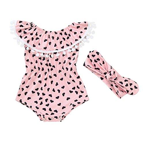 erthome Kleinkind Baby Mädchen Sommer Plaid Rock Shirt Tops + Denim Shorts Kleidung Set (Strampler+Stirnband Set(Pink, 3-18 Monate), 12-18 Monate)
