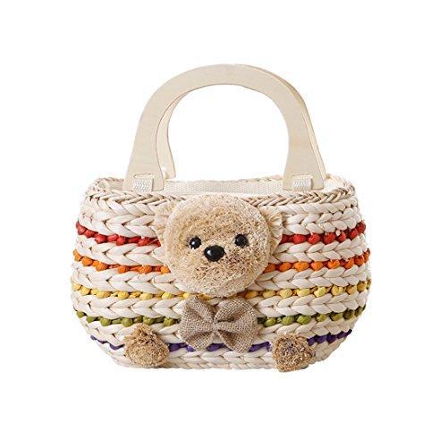 GWELL Süß Bär Strohtasche Strandtasche Schultertasche Sommer Klein Tasche mit Holz Henkeln Damentasche Kinder Handtasche Urlaub mehrfarbig