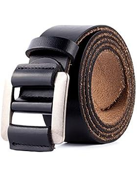 Cinturón de Cuero Genuino Para Hombres - Cinturones de Vestir Clásicos Ajustables Para Hombres Sin Agujeros Color...