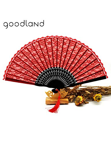 Tanzen Partei Kostüm - ATLD Fächer Handfächer Empfindliches Elegantes Rotes Blumenspitze-Taschen-Fan-Partei-Tanzen