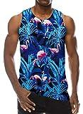 Loveternal Mens 3D Print Tank Top Flamingo Ärmelloses T-Shirt Sommer Muskelshirt XL