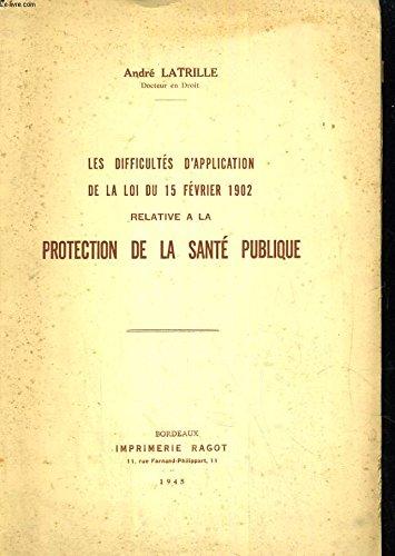 Les difficultés d'application de la loi du 15 fevrier 1902 relative sur la protection de la santé publique