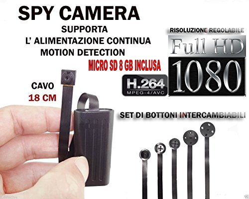 MICROSPIA SPY CAMERA SPIA FULL HD + MICRO SD 8 GB MOTION DETECTION TELECAMERA MICRO NASCOSTA MICROCAMERA