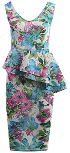 Chocolate Pickle ® Nouveau Femmes Double volants floral Peplum robe moulante Midi 36-50 Turquoise Hi Biscus Print