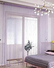 Lewondr Door String Curtain, Silver Thread Fringe Window Blinds Panel Room Divider Doorways Dense Strings Stri